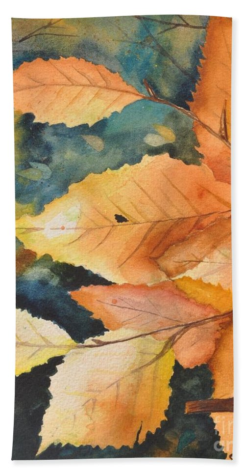 Watercolor Beach Towel featuring the painting Birch Leaves by Sally Rice