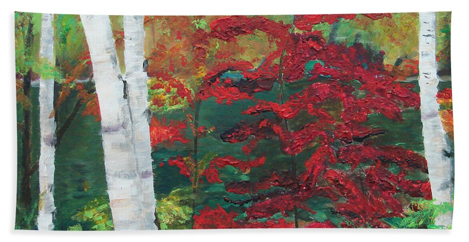 Forest Beach Towel featuring the painting Birch Trees In Red by Frankie Picasso