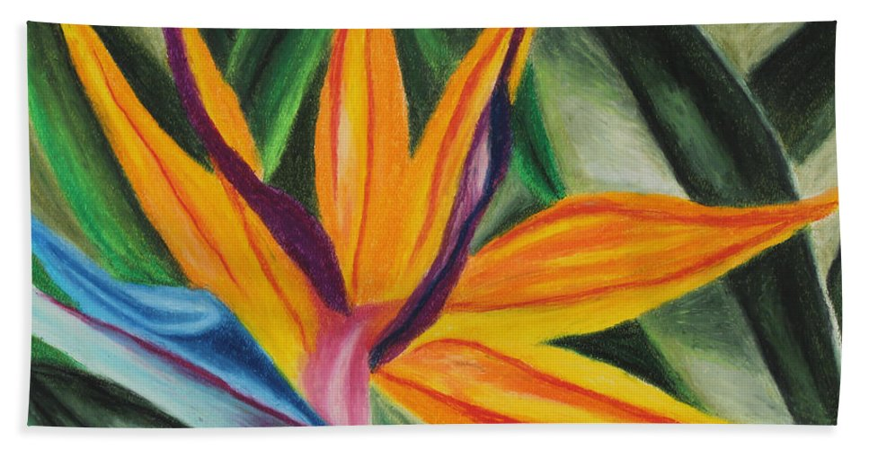 Annette M Stevenson Bird Of Paradise Beach Towel featuring the painting Bird Of Paradise by Annette M Stevenson