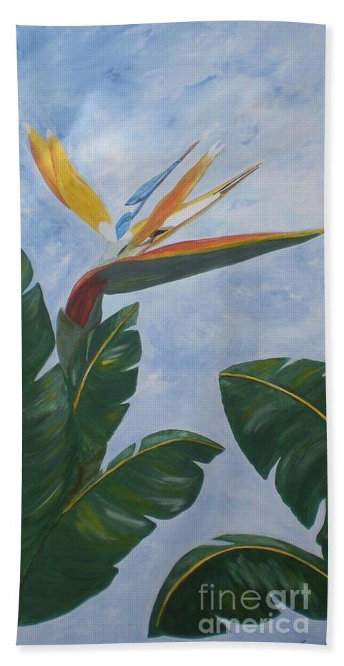 Bird Of Paradise Beach Towel featuring the painting Bird Of Paradise by Graciela Castro