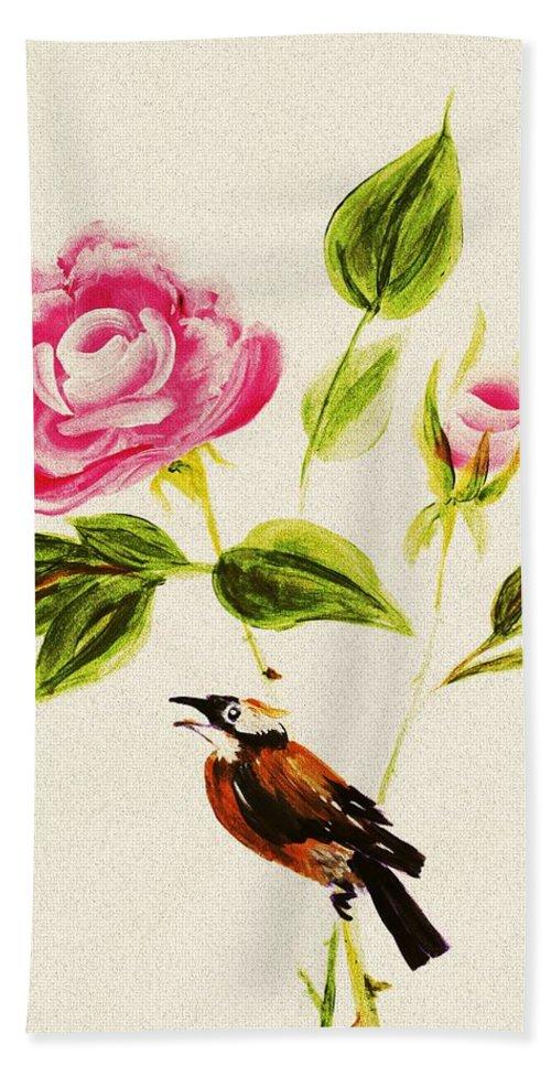 Malakhova Beach Towel featuring the painting Bird On A Flower by Anastasiya Malakhova