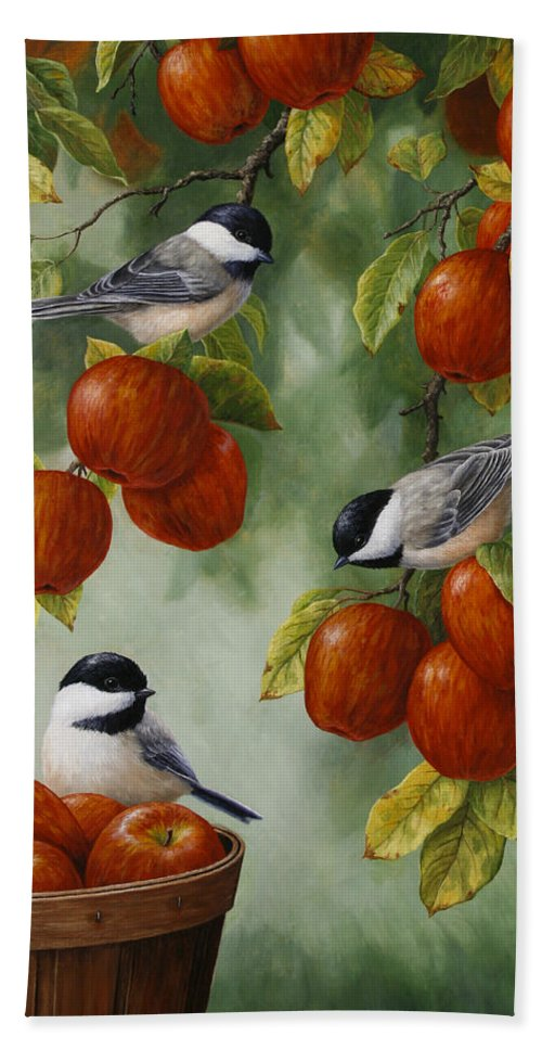 Birds Beach Towel featuring the painting Bird Painting - Apple Harvest Chickadees by Crista Forest