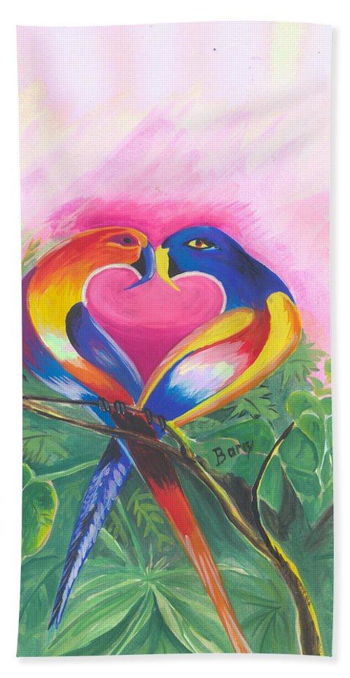 Love Beach Towel featuring the painting Birds In Love 02 by Emmanuel Baliyanga