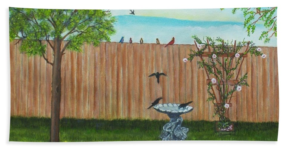 Landscape Beach Towel featuring the painting Birds In The Backyard by Brenda Drain