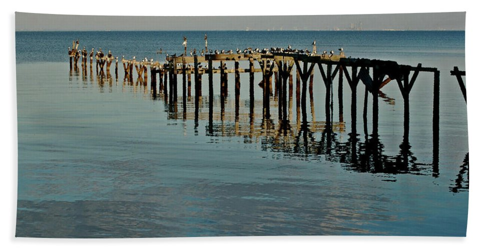 Alabama Photographer Beach Towel featuring the painting Birds On Old Dock On The Bay by Michael Thomas