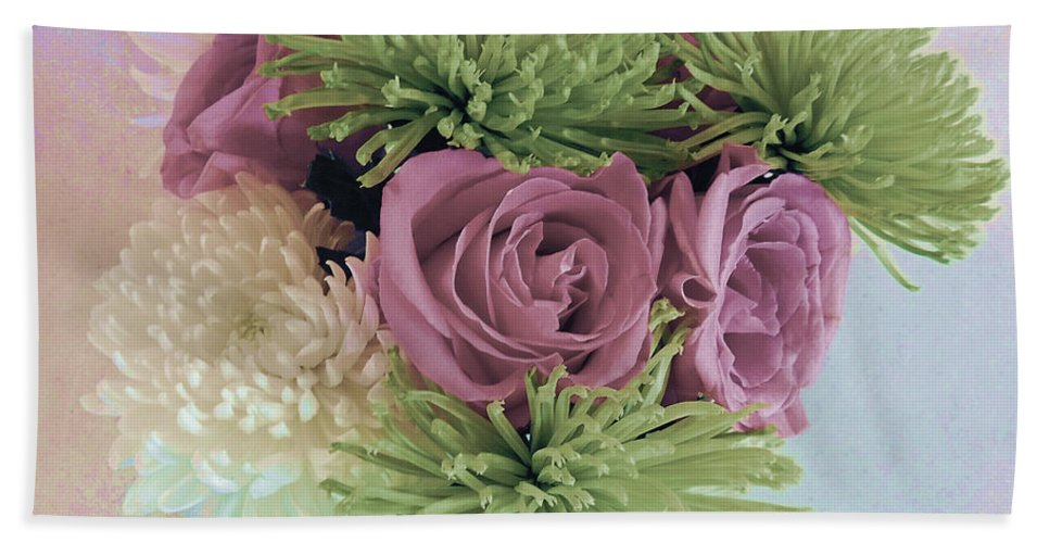 Photograph Beach Towel featuring the photograph Birthday Flowers Three by Marian Bell