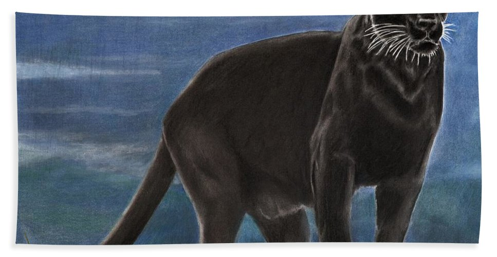 Cat Beach Towel featuring the drawing Black And Blue by Christian Conner