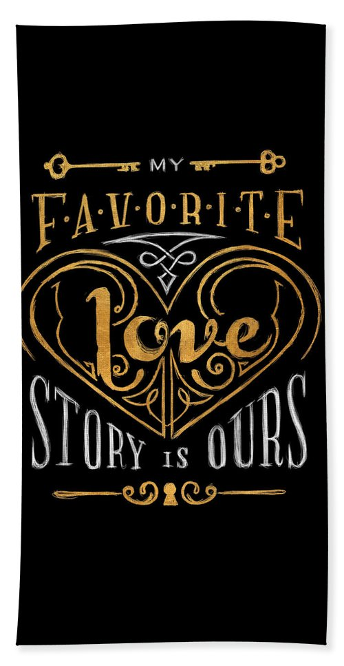 Black Beach Towel featuring the digital art Black And Gold Love Story by South Social Studio
