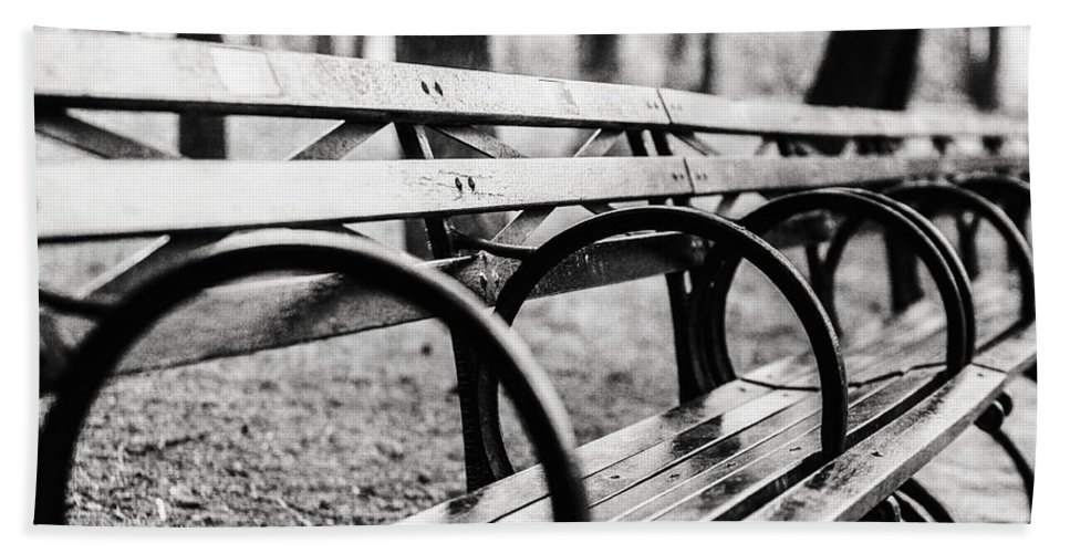Black And White Central Park Bench In New York City Beach Towel For