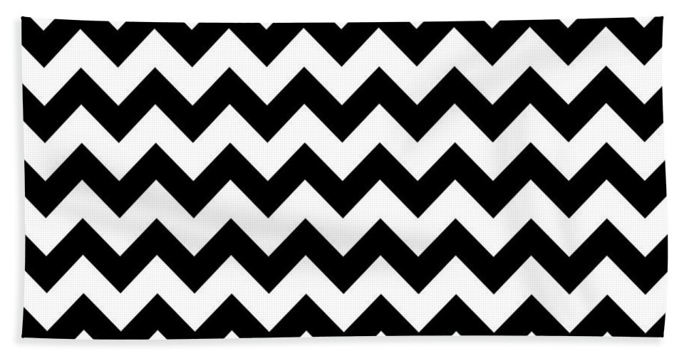 Patterns Beach Towel featuring the digital art Black And White Chevron by Jackie Farnsworth