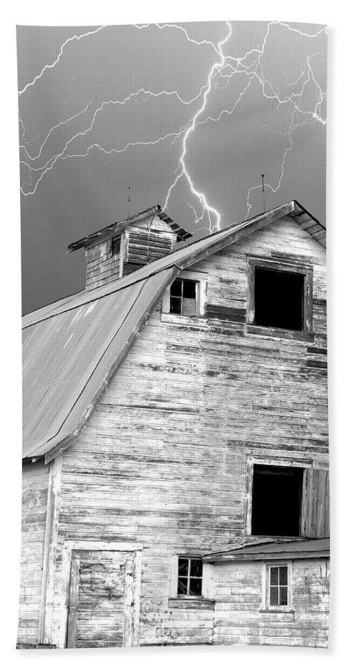 Lightning Beach Towel featuring the photograph Black And White Old Barn Lightning Strikes by James BO Insogna