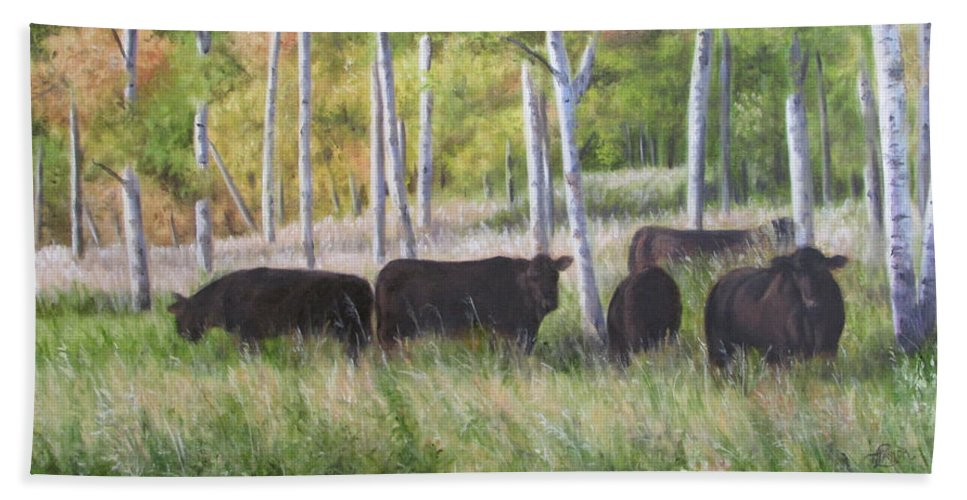 Black Angus Beach Towel featuring the painting Black Angus Grazing by Tammy Taylor
