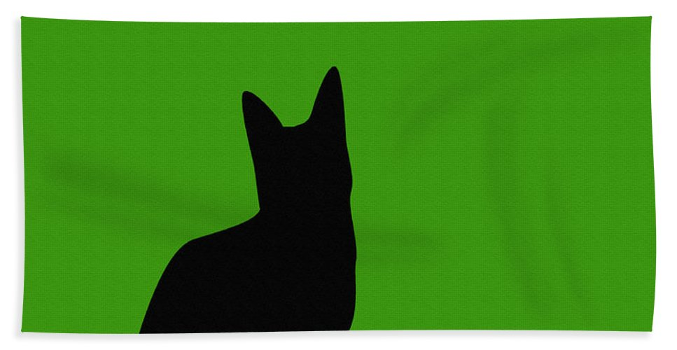 Black Cat On Lime Green Background Beach Towel featuring the digital art Black Cat On Lime Green Background by Barbara Griffin
