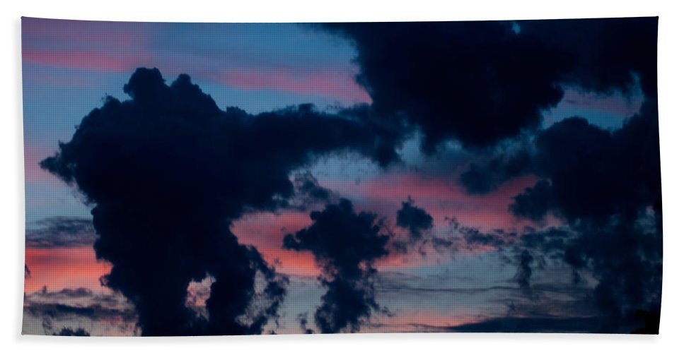 Clouds Beach Towel featuring the photograph Black Clouds Against Sunset by Optical Playground By MP Ray