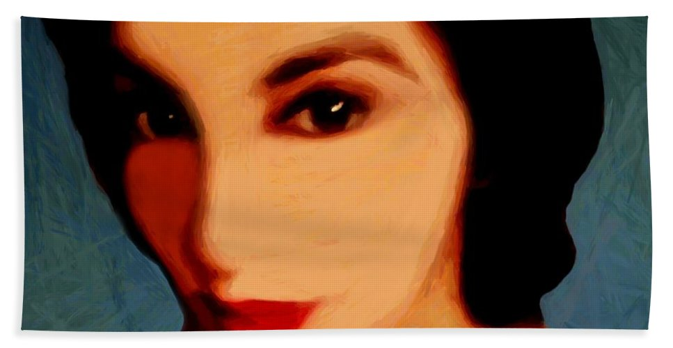Portrait Beach Towel featuring the painting Black-eyed Beauty by RC DeWinter