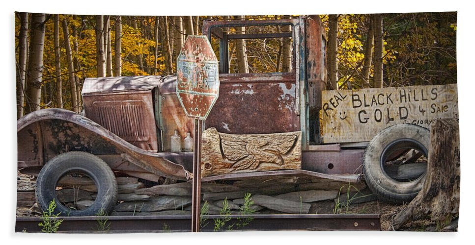 Art Beach Towel featuring the photograph Black Hills Gold Truck Sign by Randall Nyhof