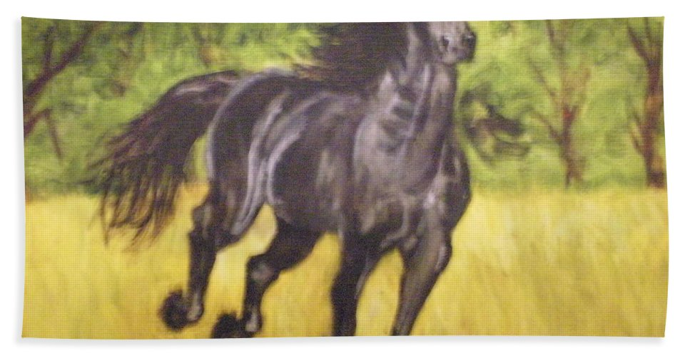 Horse Beach Towel featuring the painting Black Horse by Terry Lewey