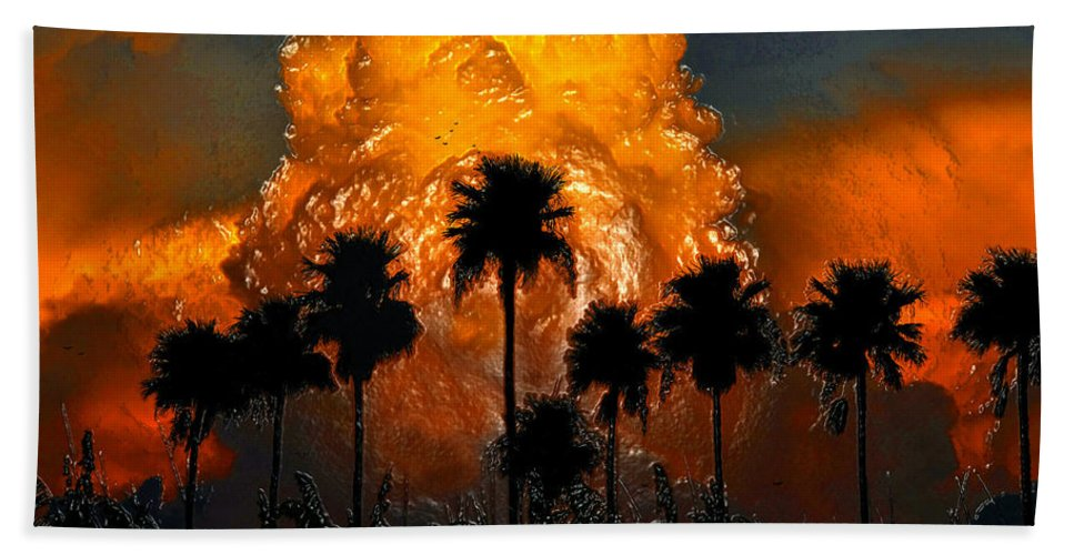 Thunder Storm Beach Towel featuring the painting Black Palms At Dusk by David Lee Thompson