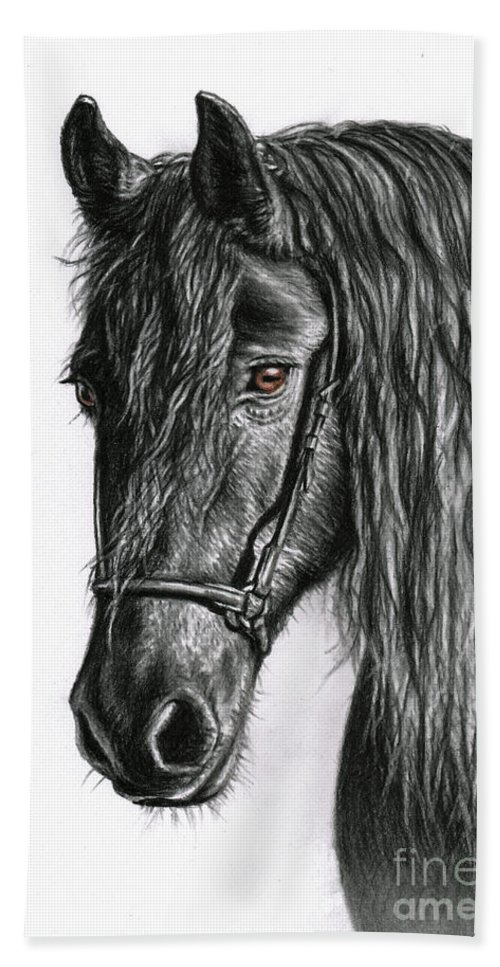 Horse Beach Towel featuring the drawing Black Pearl by Nicole Zeug