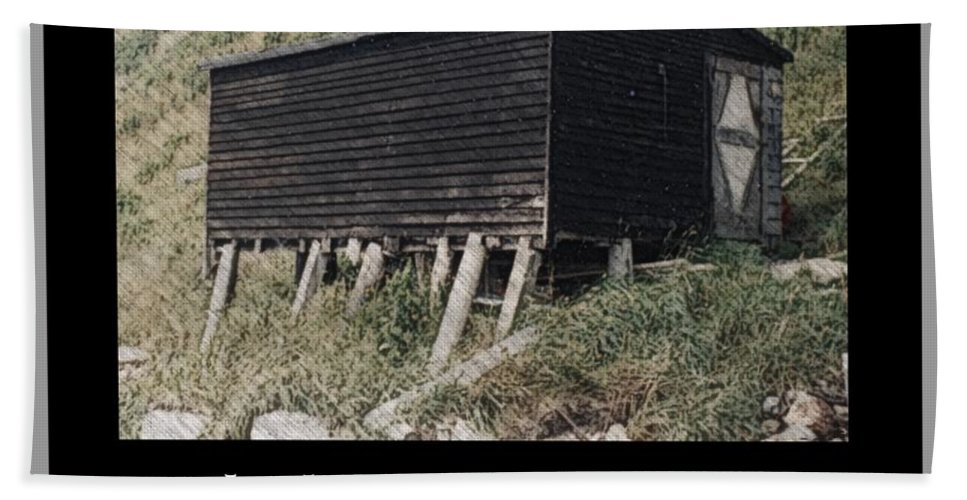 Black Pitch Storage Shed Beach Towel featuring the photograph Black Pitch Storage Shed by Barbara Griffin