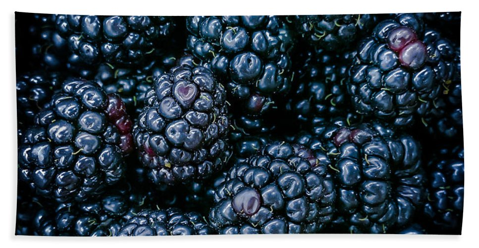 Blackberries Beach Towel featuring the photograph Blackberries by Karen Wiles