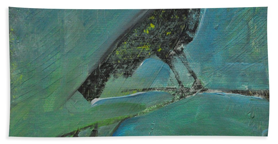 Bird Beach Towel featuring the painting Blackbird Redberry by Tim Nyberg
