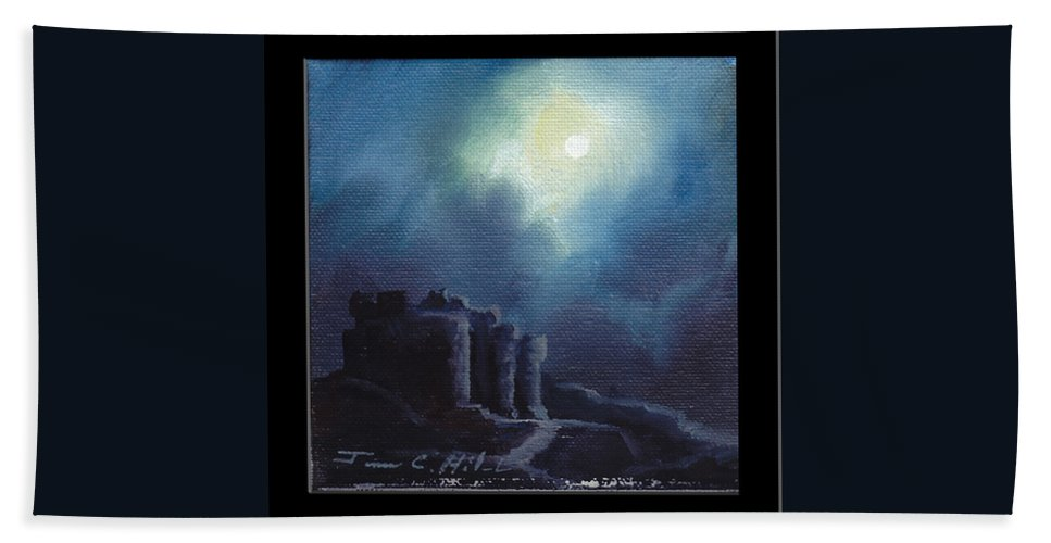 Gothic Beach Towel featuring the painting Blarney Castle by James Christopher Hill