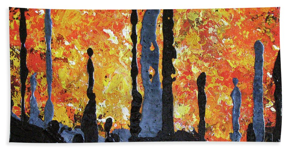 Painting Beach Towel featuring the painting Blaze by Elaine Booth-Kallweit