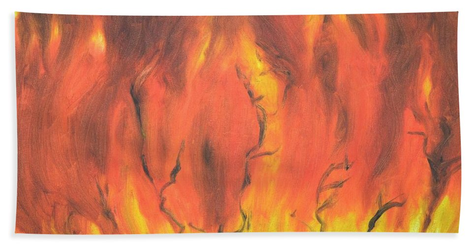 Fire Beach Towel featuring the painting Blazing Fire by Usha Shantharam