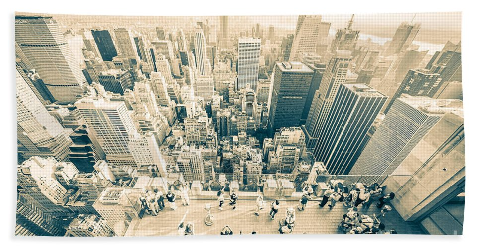 Nyc Beach Towel featuring the photograph Bleached Manhattan by Ray Warren