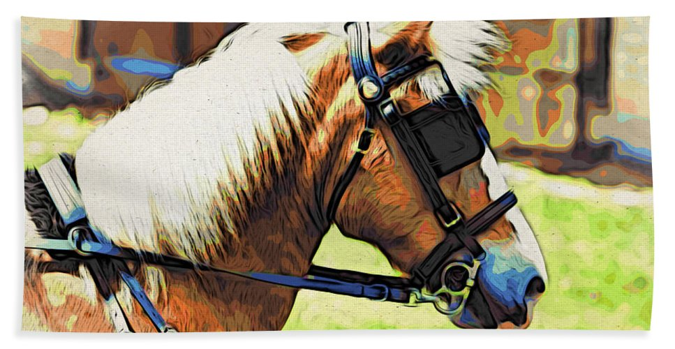 Horse In Blinders Beach Towel featuring the photograph Blinders by Alice Gipson