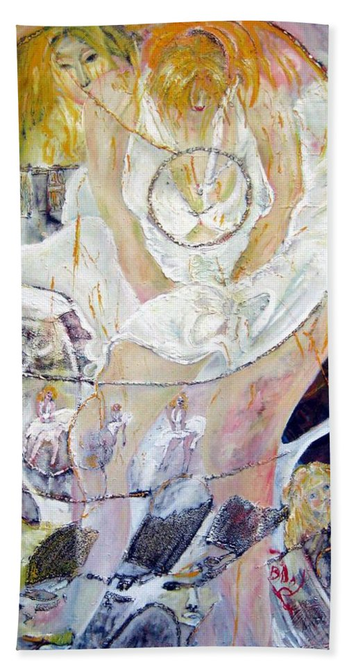 Figurative Beach Towel featuring the painting Blondie  by Peggy Blood