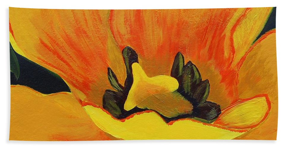Barbara Griffin Beach Towel featuring the painting Bloomed Yellow Tulip by Barbara Griffin