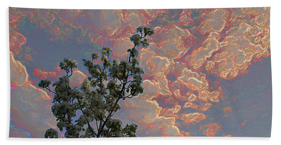 Special Effect Beach Towel featuring the photograph Blooming Tree And Sky by Mick Anderson