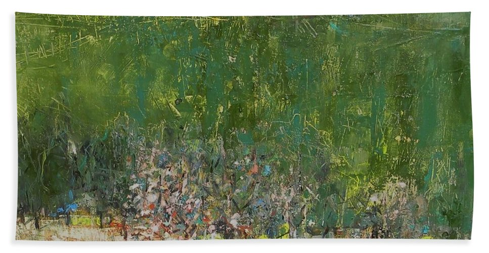 Landscape Beach Towel featuring the painting Blossoming Tree In The Garden by Grigor Malinov