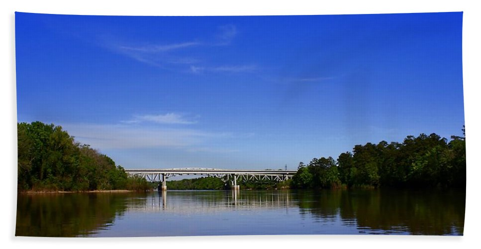 River Beach Towel featuring the photograph Blountstown Bridge On The Apalachicola River by Debra Forand