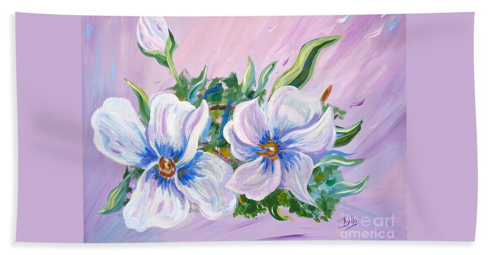 White Flowers Beach Towel featuring the painting Blowing In The Wind by Phyllis Kaltenbach