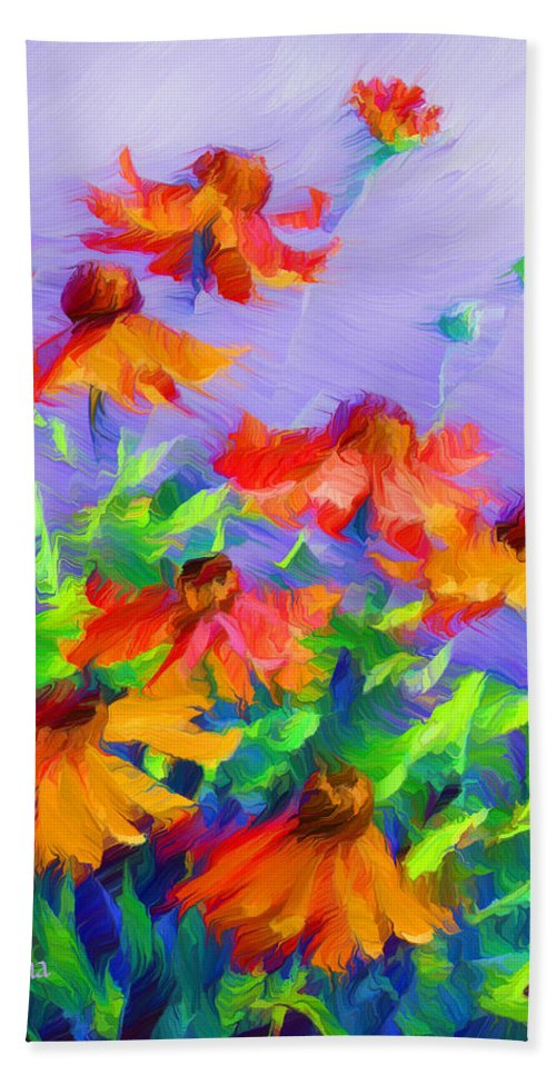 Blowing In The Wind Beach Towel featuring the painting Blowing In The Wind by Georgiana Romanovna