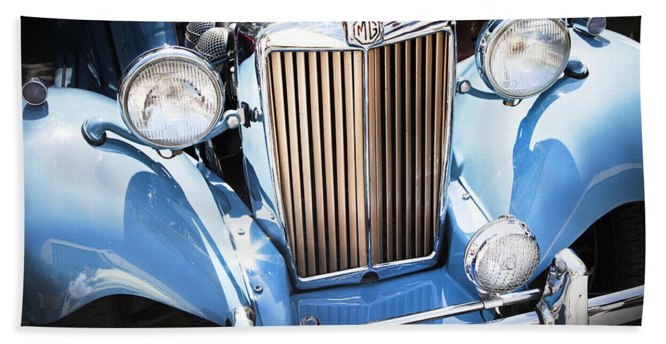 Vintage Car Beach Towel featuring the photograph Blue 1953 Mg by Theresa Tahara