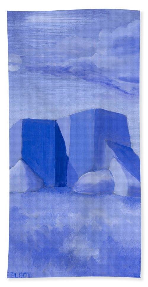 Blue Beach Towel featuring the painting Blue Adobe by Jerry McElroy