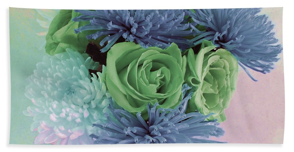Computer Graphics Beach Towel featuring the photograph Blue And Green Flowers by Marian Bell
