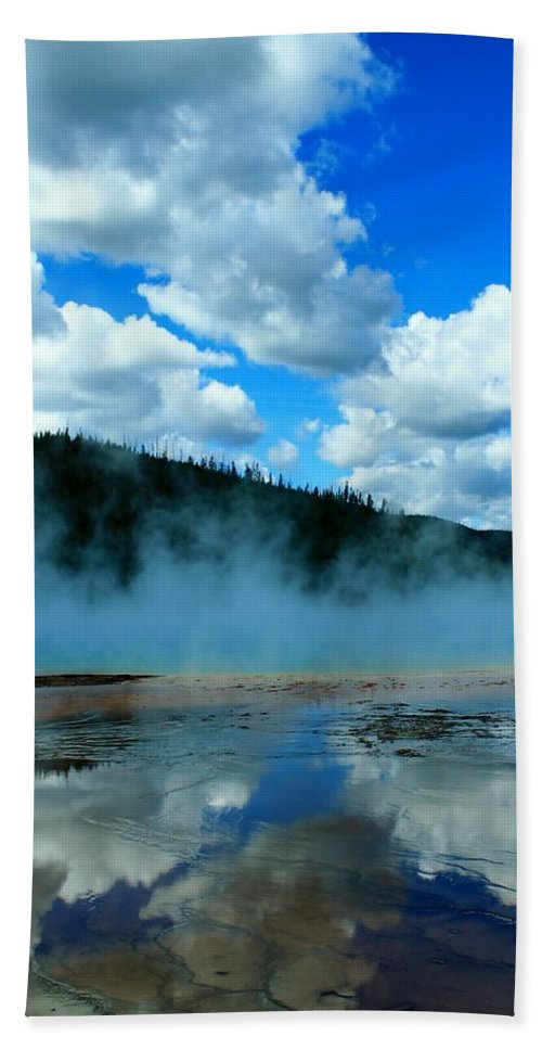 Yellowstone National Park Beach Towel featuring the photograph Blue And More Blue by Catie Canetti
