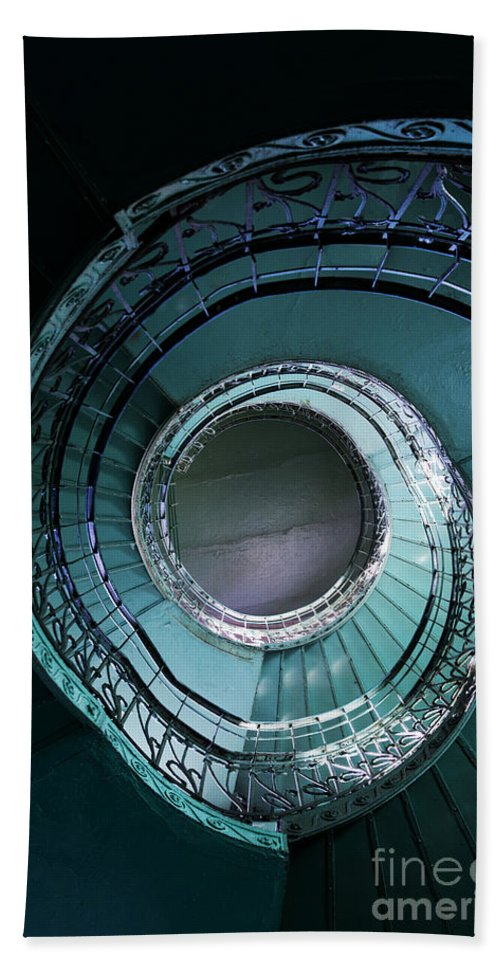 Architecture.spiral Beach Towel featuring the photograph Blue And Silver Spiral Stairs by Jaroslaw Blaminsky