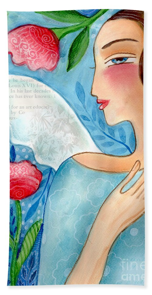 Angel Beach Towel featuring the mixed media Blue Angel by Elaine Jackson