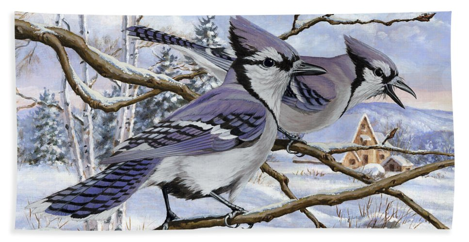 Winter Beach Towel featuring the painting Blue Bandits Winter Afternoon by Richard De Wolfe