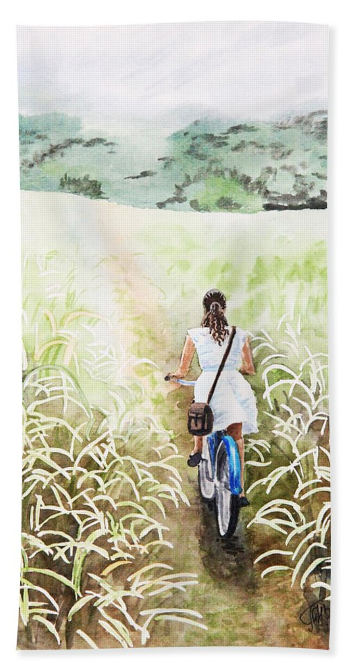 Girl Beach Towel featuring the painting Blue Bicycle by Masha Batkova