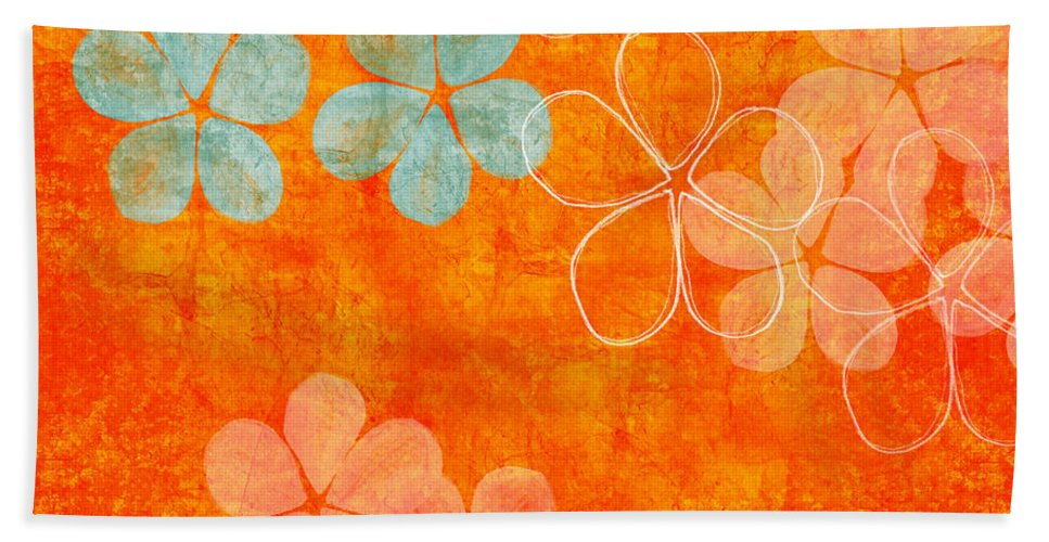 Abstract Beach Towel featuring the painting Blue Blossom On Orange by Linda Woods