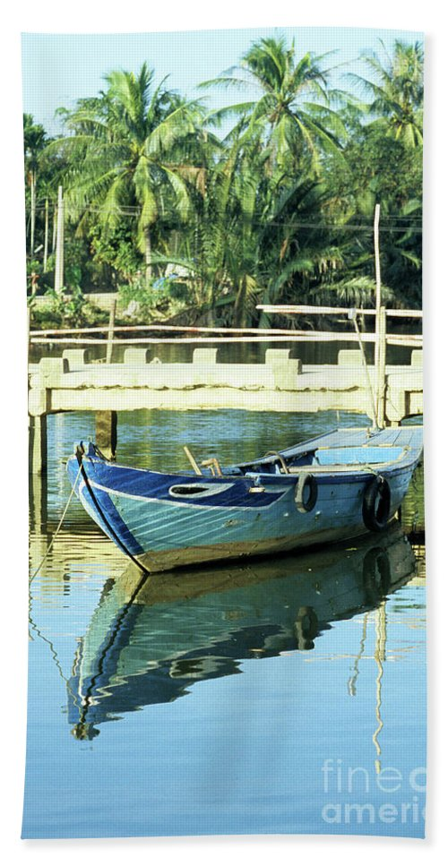 Vietnam Beach Towel featuring the photograph Blue Boat 02 by Rick Piper Photography