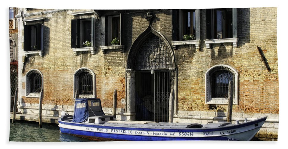 Italy Beach Towel featuring the photograph Blue Boat Venice by Timothy Hacker