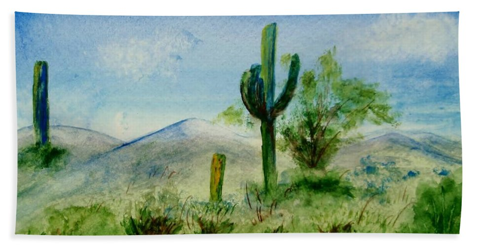 Original Beach Towel featuring the painting Blue Cactus by Jamie Frier